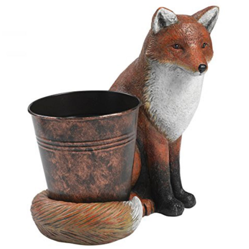 red fox with pot planter
