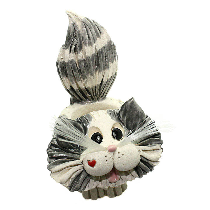 ceramic gray and white longhair cat toothpick holder alt view