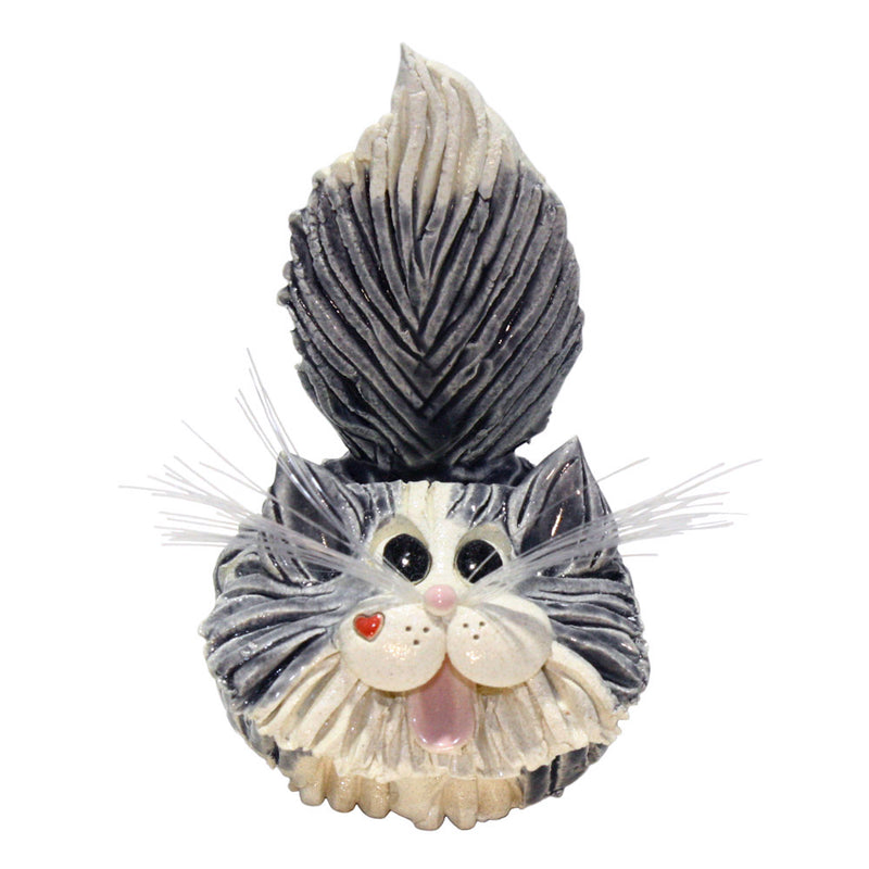 ceramic gray and white long hair cat buiness card holder