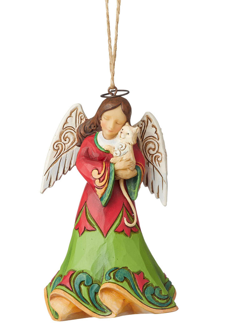jim shore angel with kitten christmas ornament