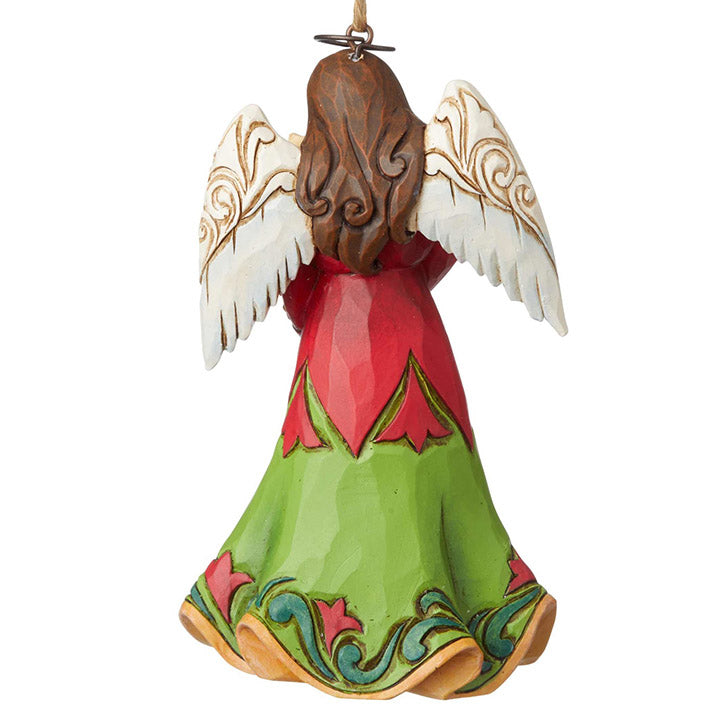 jim shore angel with kitten ornament back view