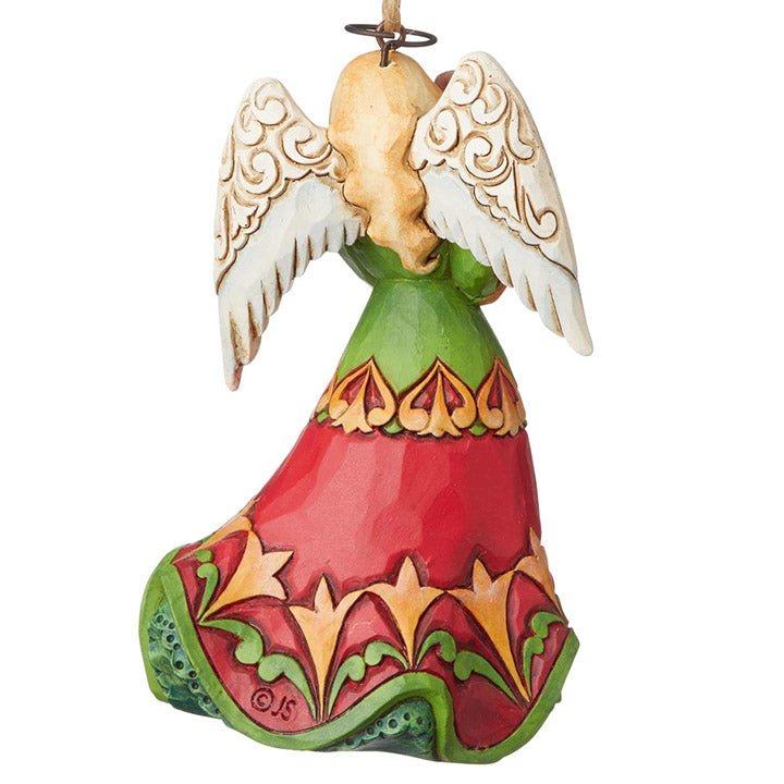jim shore angel with puppy ornament back view