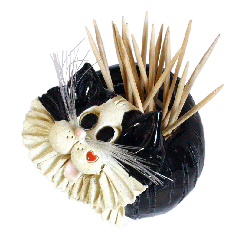 stoneware ceramic tuxedo cat holder with toothpicks