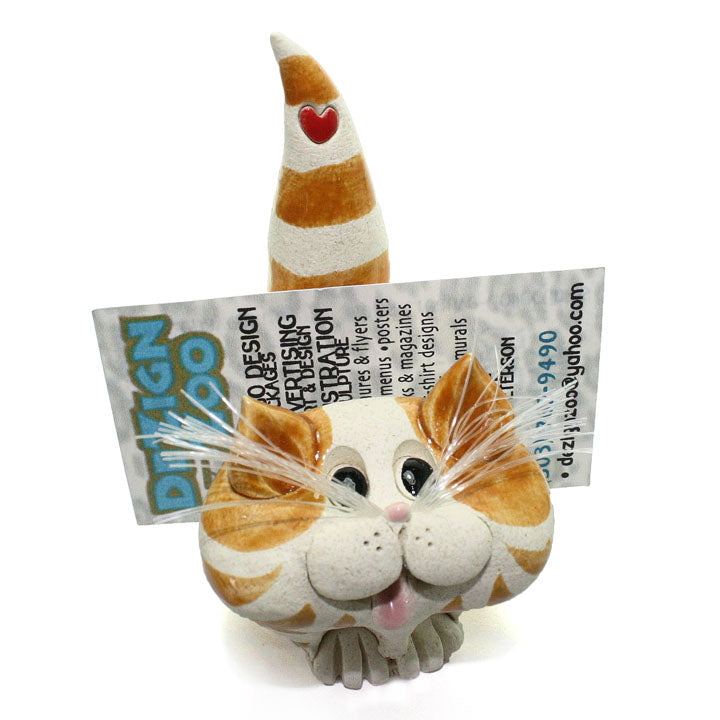 ceramic ginger tabby cat business card holder alt view