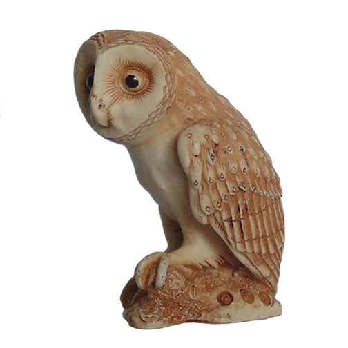 harmony kingdom ollie barn owl netsuke side view