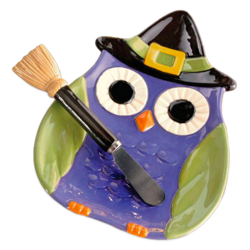 ceramic owl witch serving plate with broom stick spreader