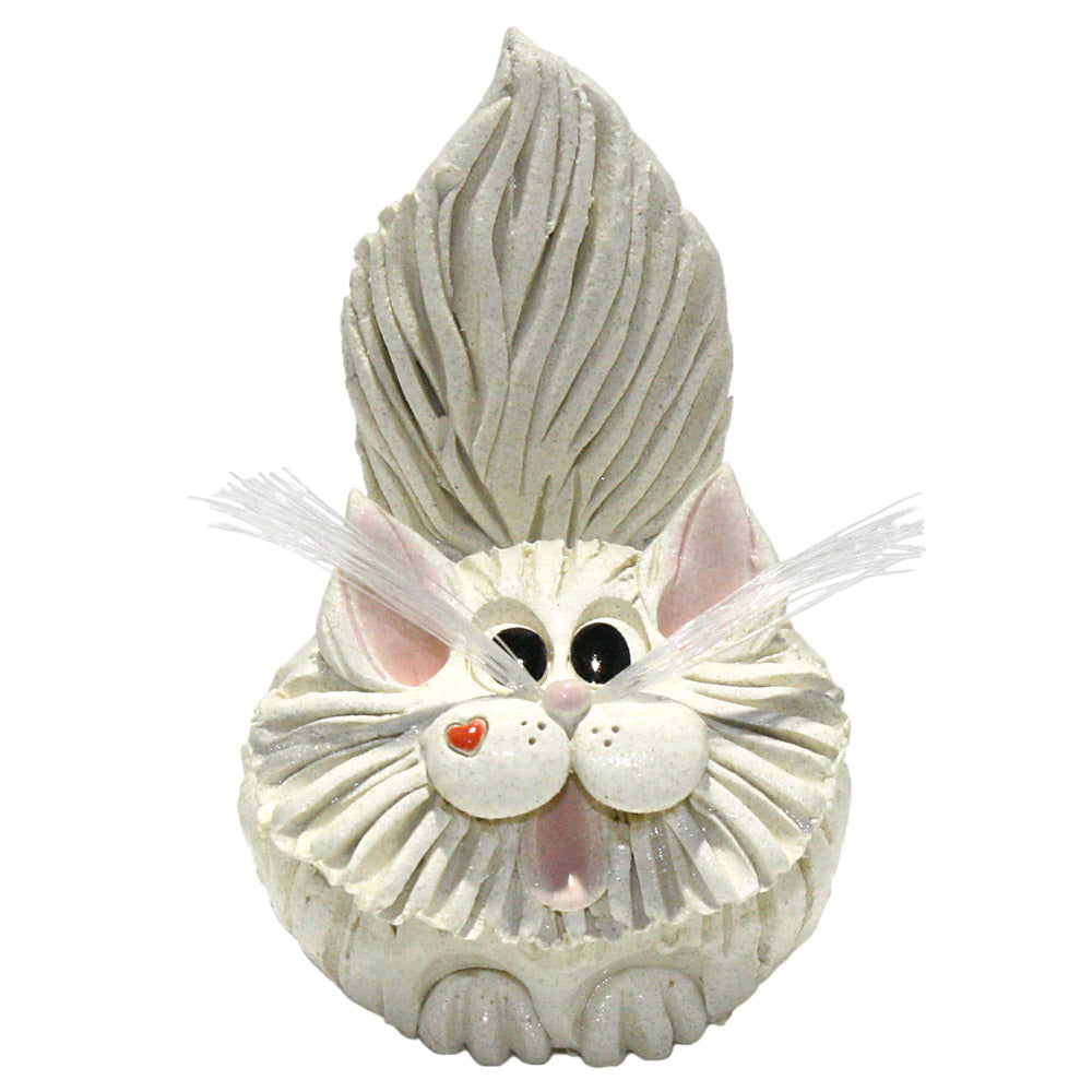 ceramic white long hair cat business card holder