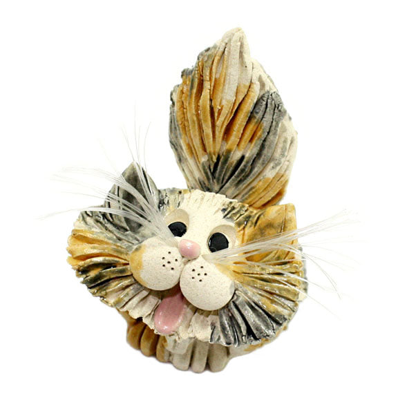 ceramic gray and yellow long hair cat business card holder