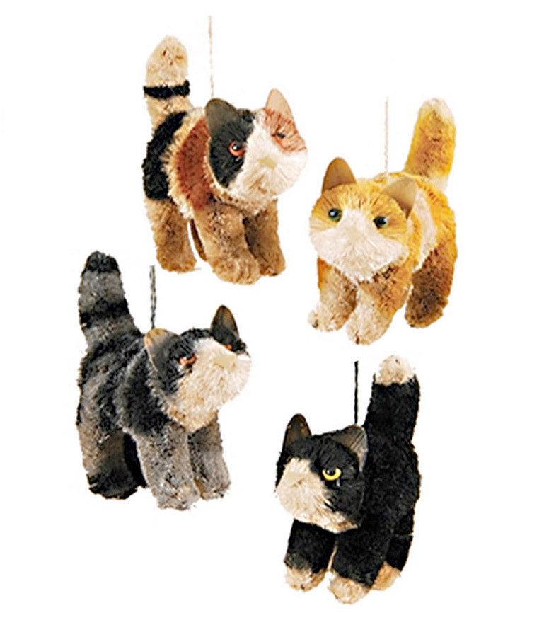abaca fiber bottle brush cat ornaments