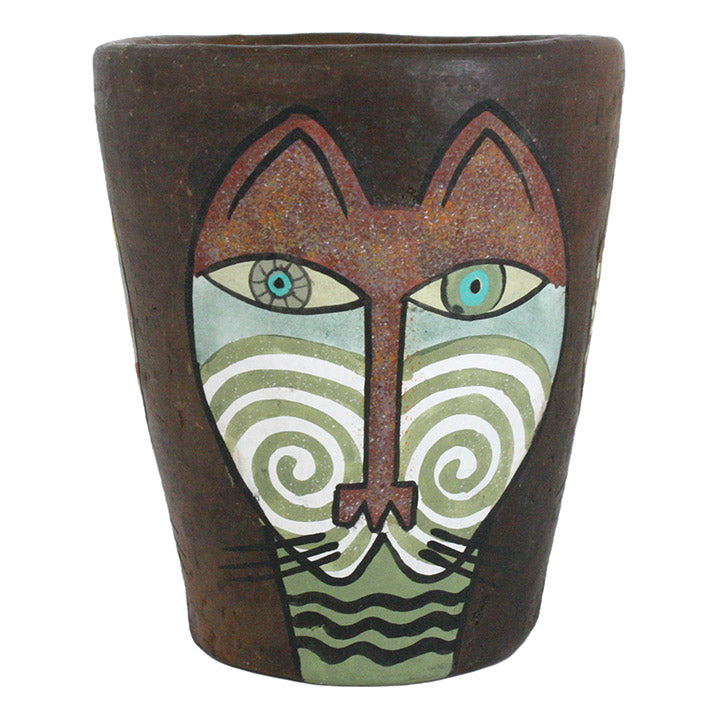 african hand crafted clay cat pot view 2