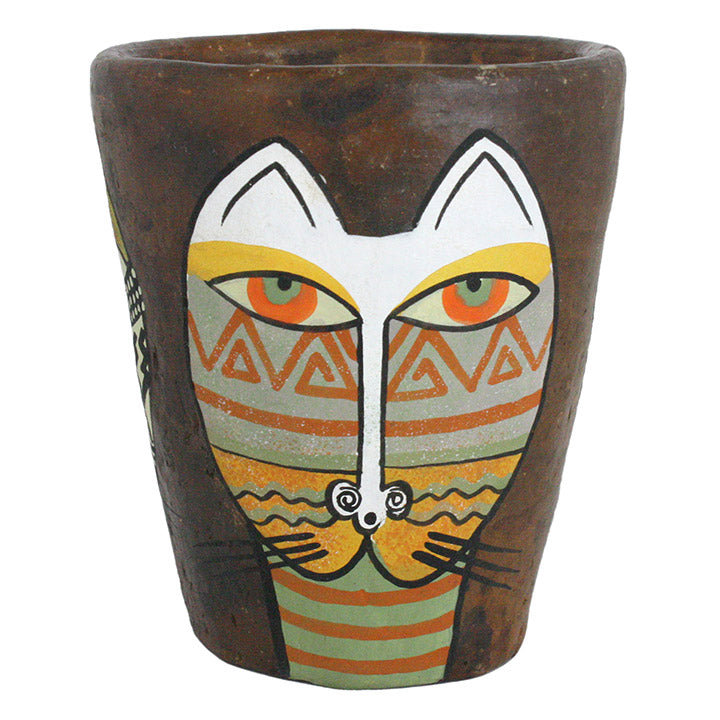 african hand crafted clay cat pot view 3