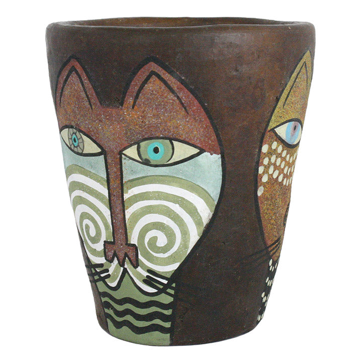 african modern cat art pot