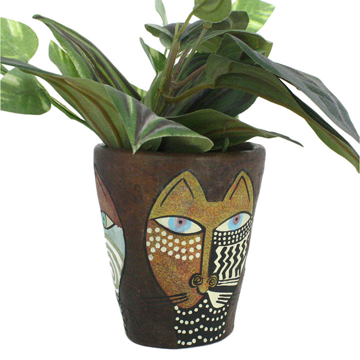 modern african art cat pot