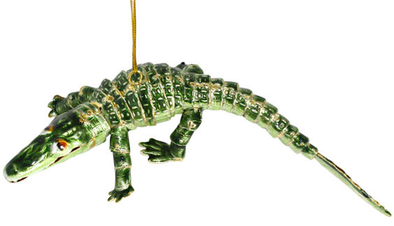 articulated cloisonne alligator ornament