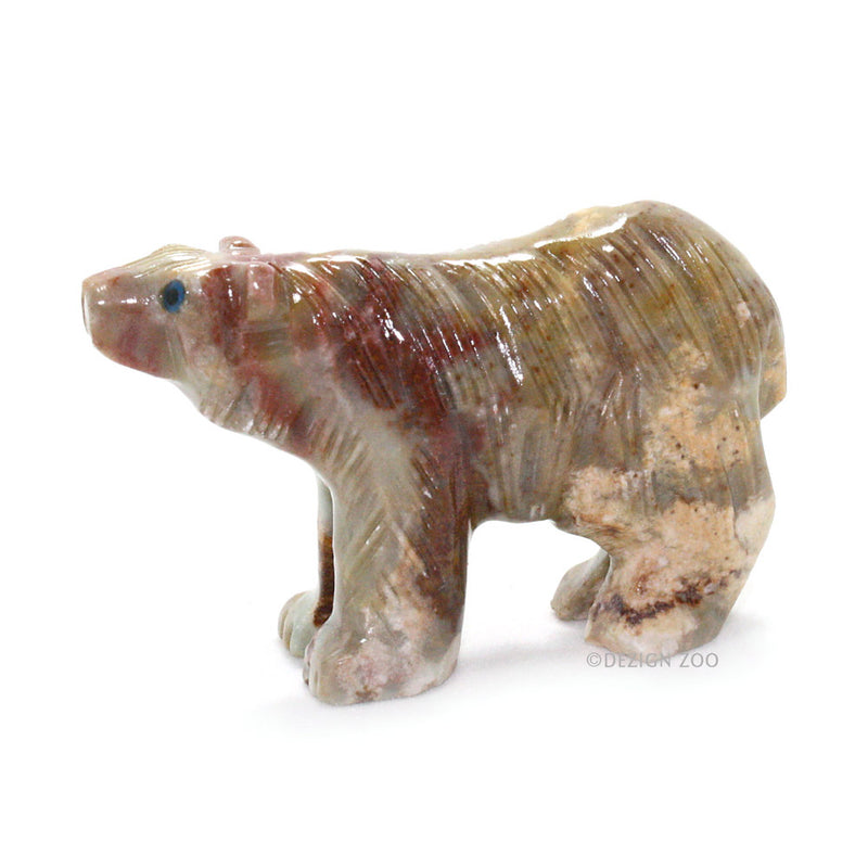 carved stone andean bear left side view
