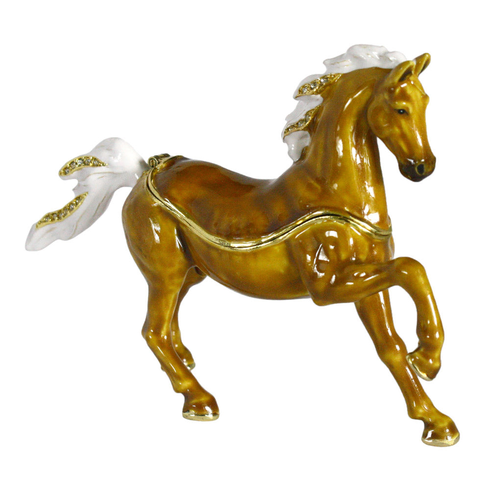 crystal accented arabian horse trinket box