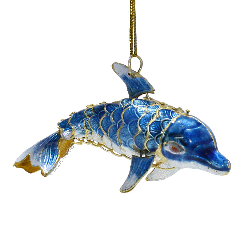 articulated cloisonne dolphin ornament