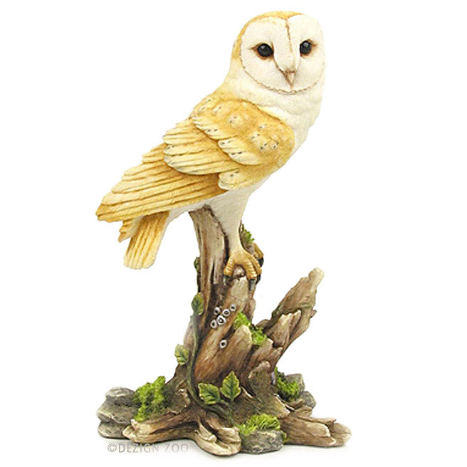 barn owl on tree stump figurine