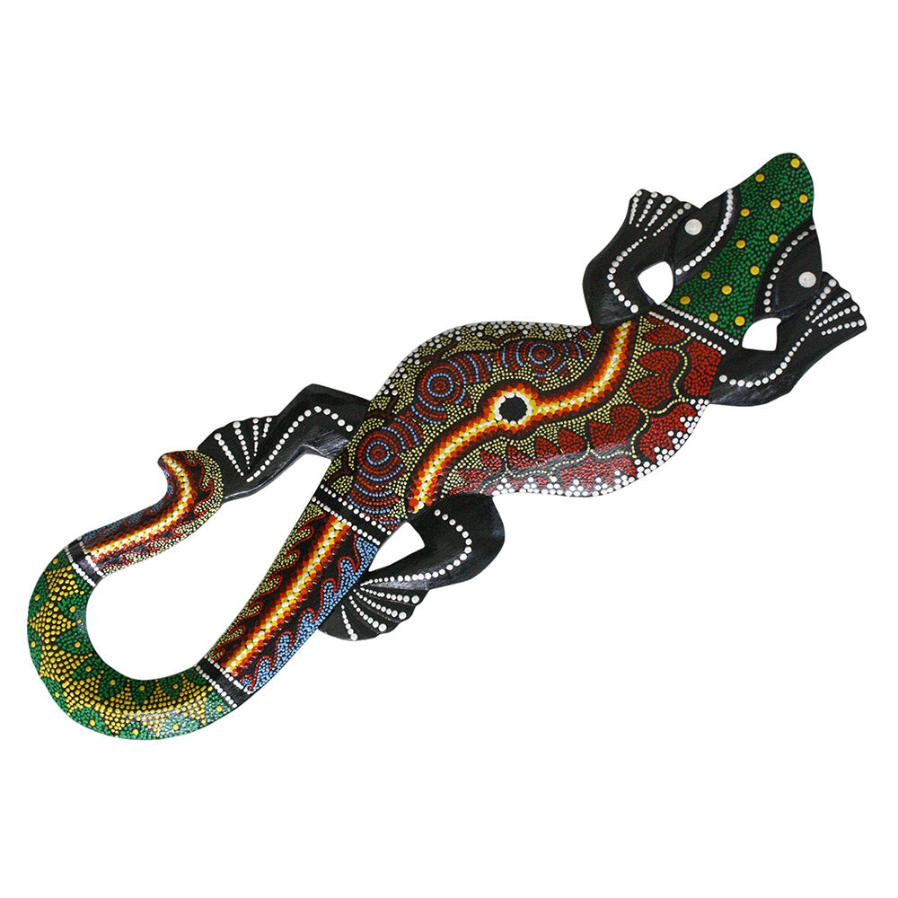 Indonesian batik painted gecko wall sculpture