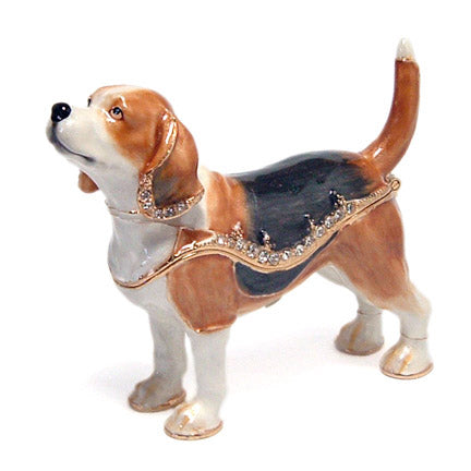 bejeweled beagle dog trinket box right view