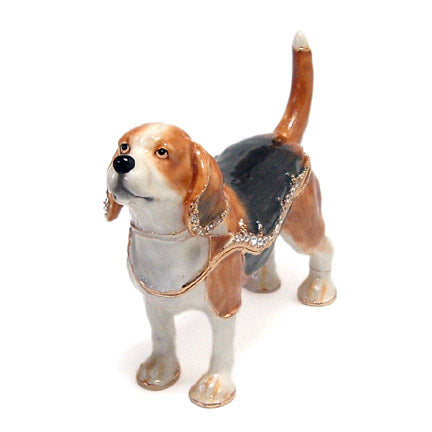 crystal accented beagle dog trinket box front view
