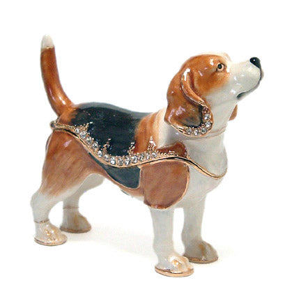 crystal accented beagle dog trinket box