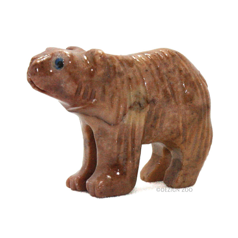 mini soapstone andean bear figurine left side view