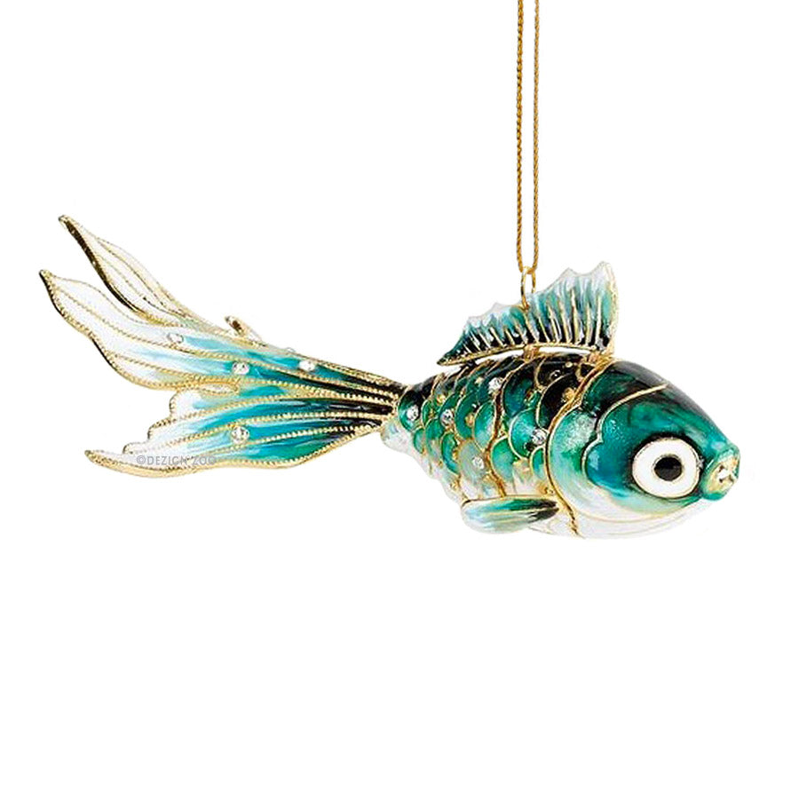 Crystal Jeweled Aqua Koi Cloisonne Fish Ornament