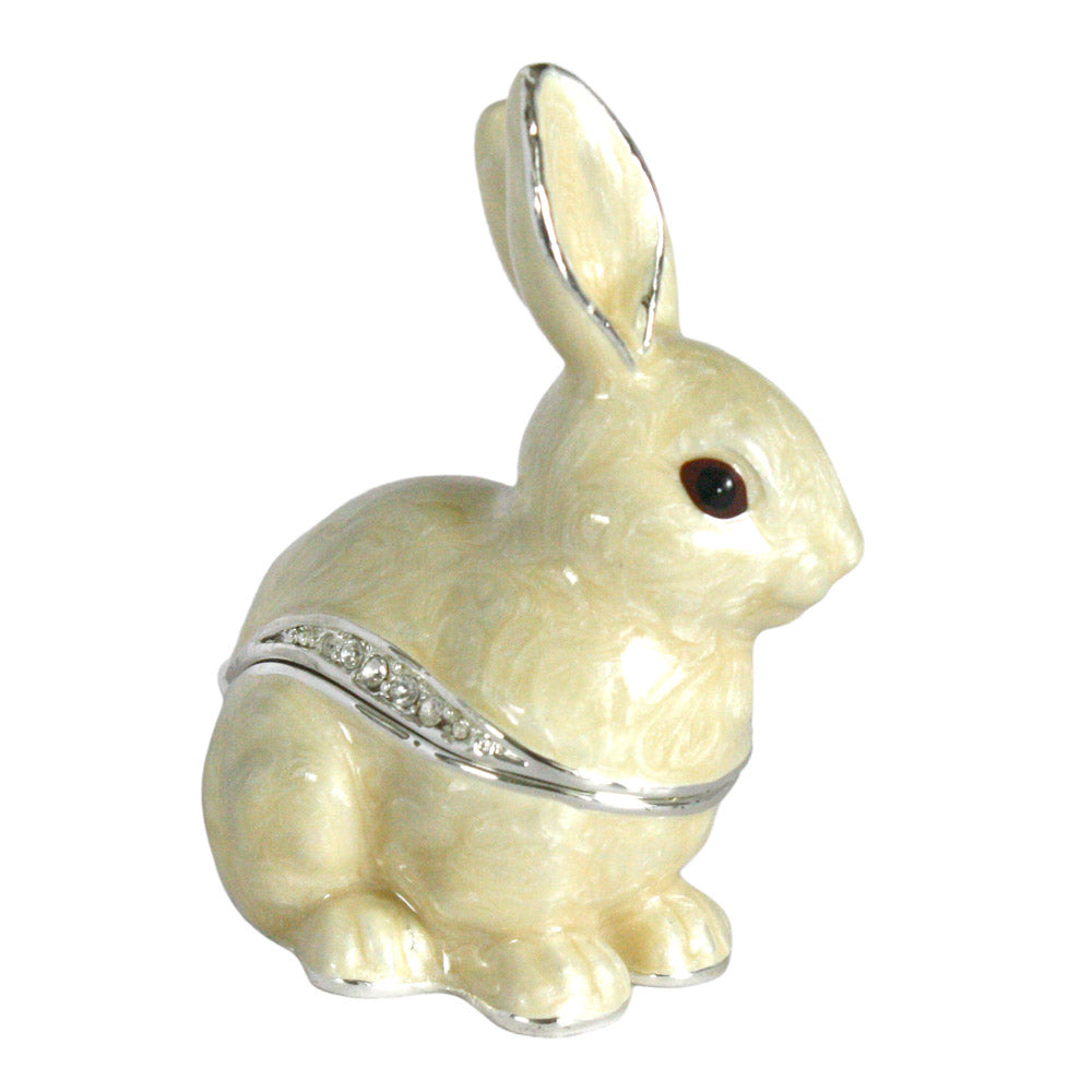 bejeweled white rabbit trinket box