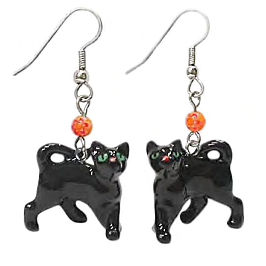 porcelain black cat halloween earrings