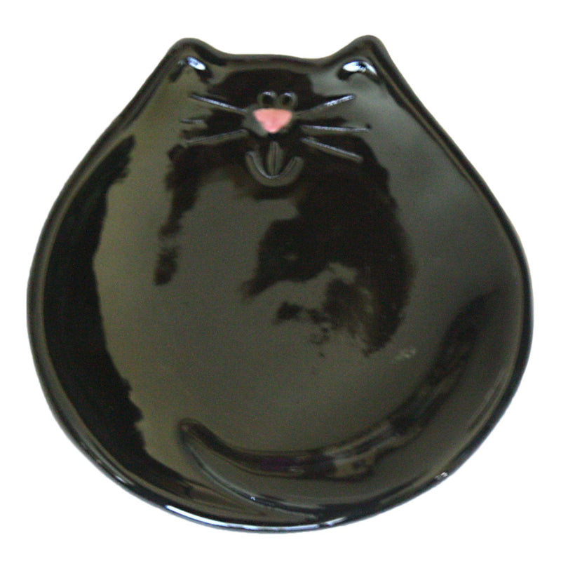 ceramic black cat spoon rest dish