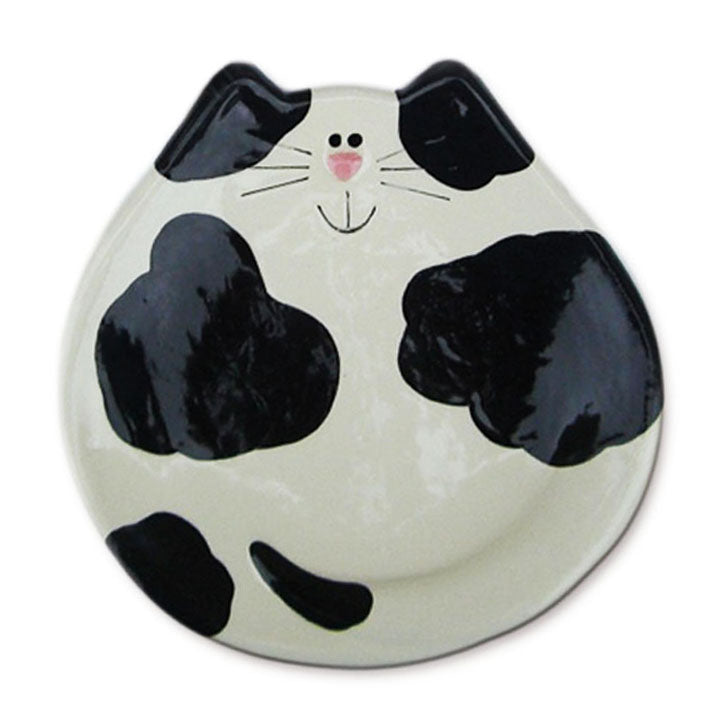 ceramic black and white cat spoon rest dish