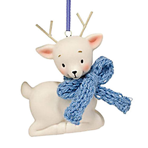 department 56 knit wits deer with blue bow ornament