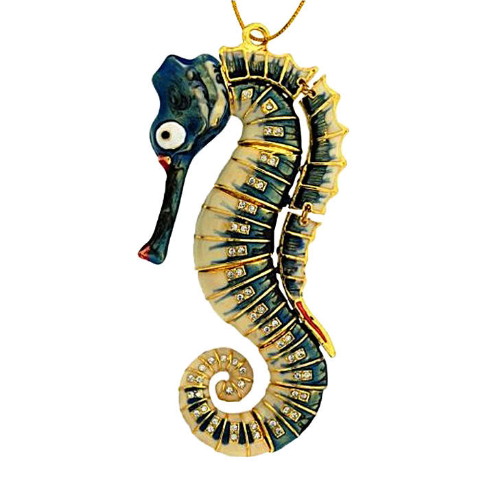 articulated bejeweled cloisonne seahorse ornament