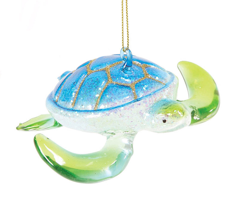 glass dept 56 blue and green sea turtle ornament