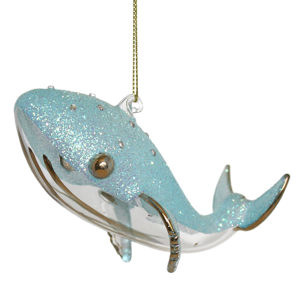 dept 56 blue glass whale ornament