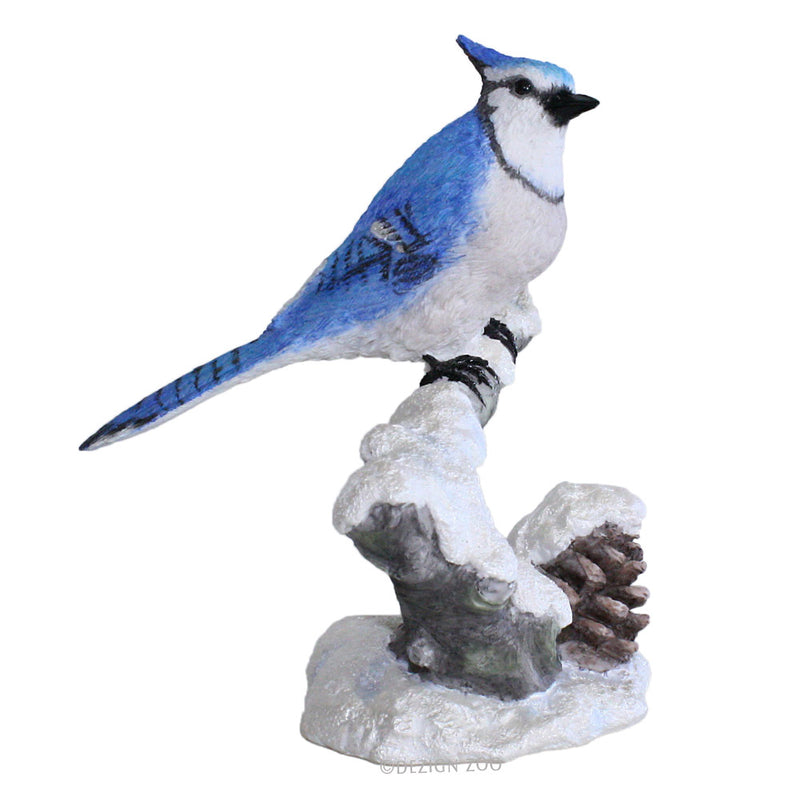 blue jay on snowy branch figurine