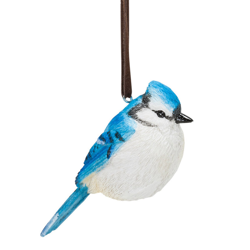 classic blue jay bird ornament full view