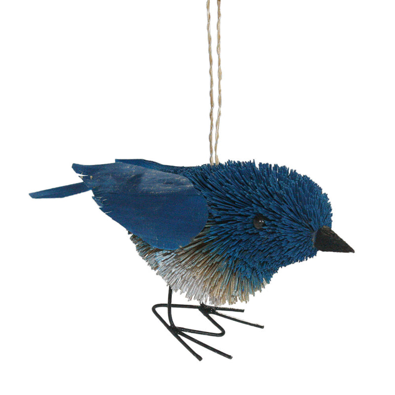 buri palm brush art bluenbird ornament front view