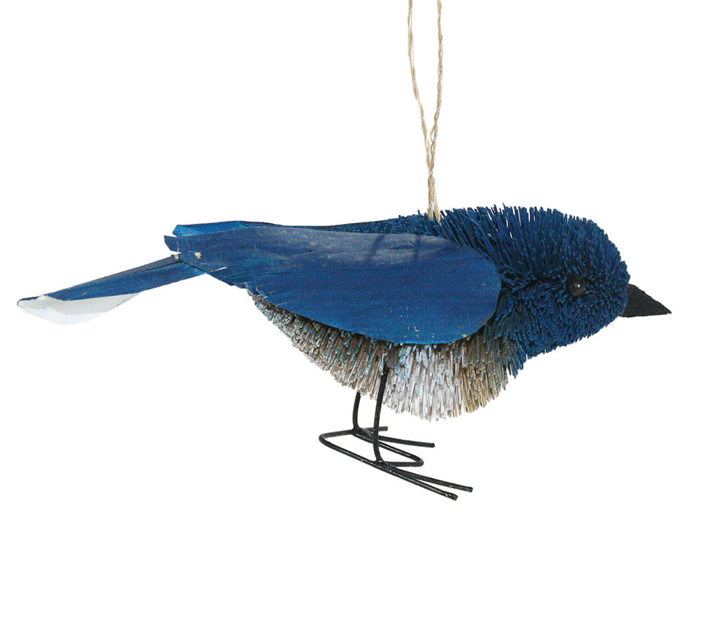 buri palm brush art bluenbird ornament