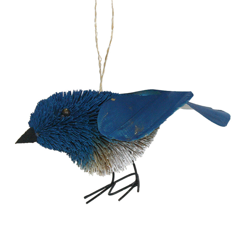 buri palm brush art bluenbird ornament left side view