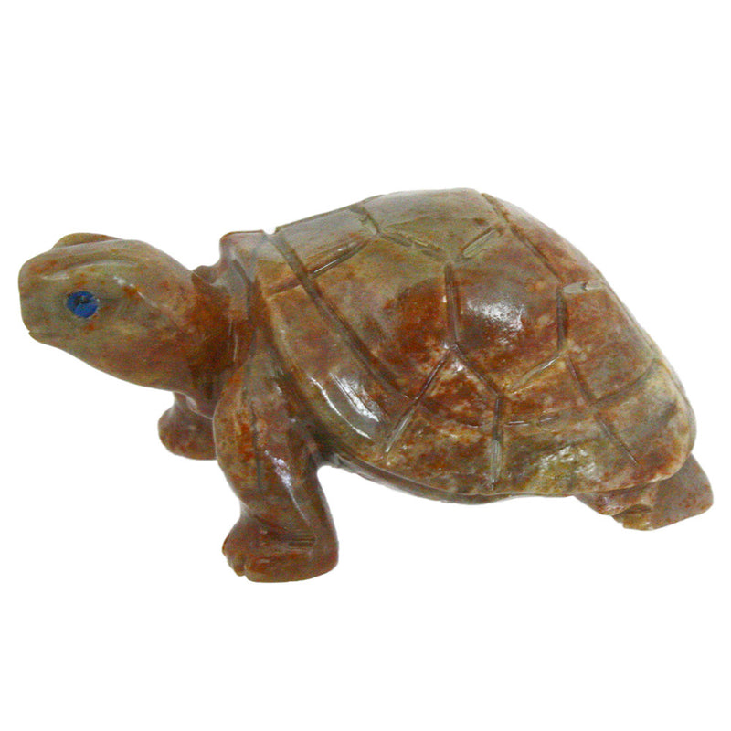 carved stone turtle sculpture figurine left side view