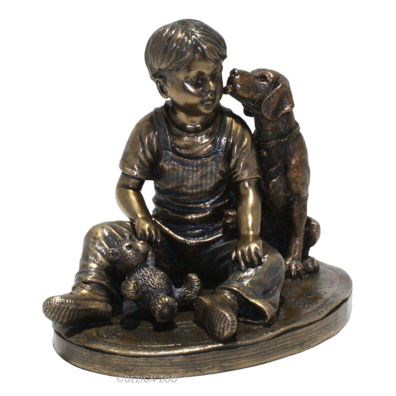 bronze boy with dog sculpture alt view