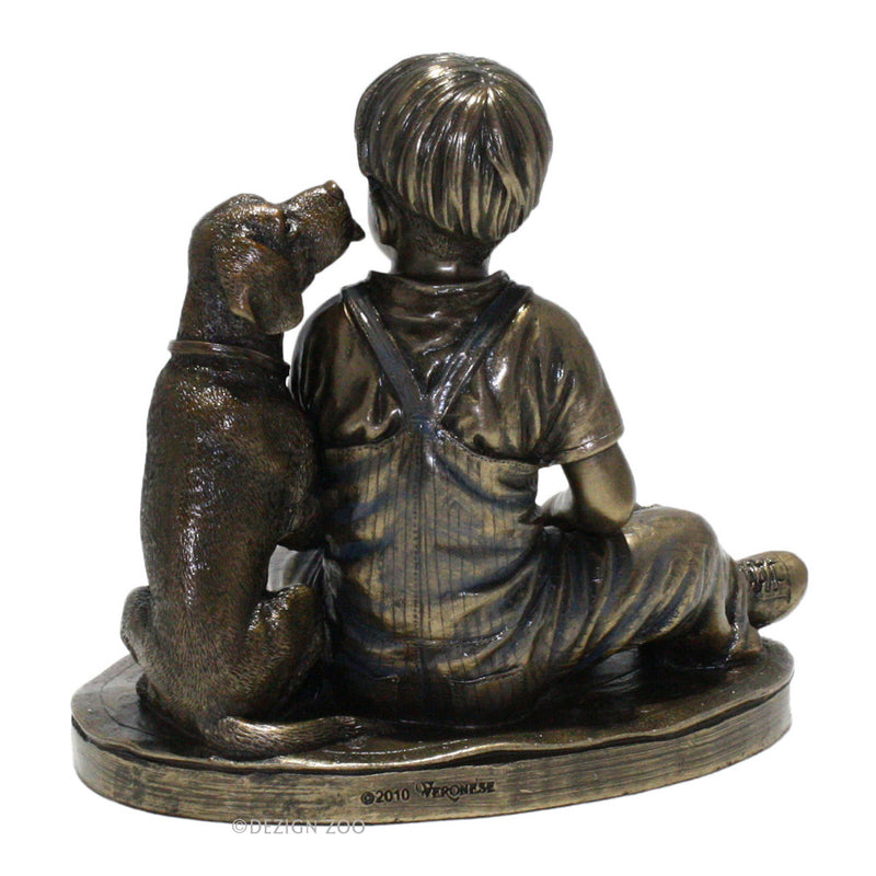 bronze boy with dog sculpture back view
