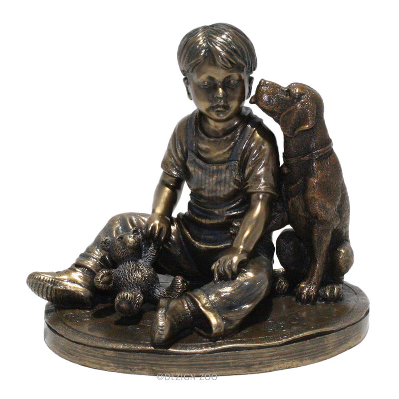 bronze boy with dog sculpture