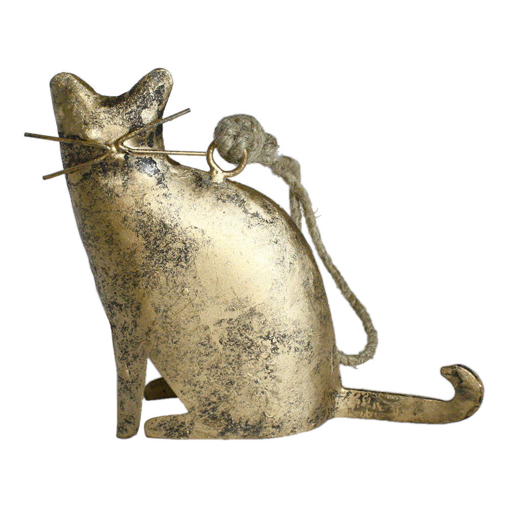 metal sitting cat figurine ornament