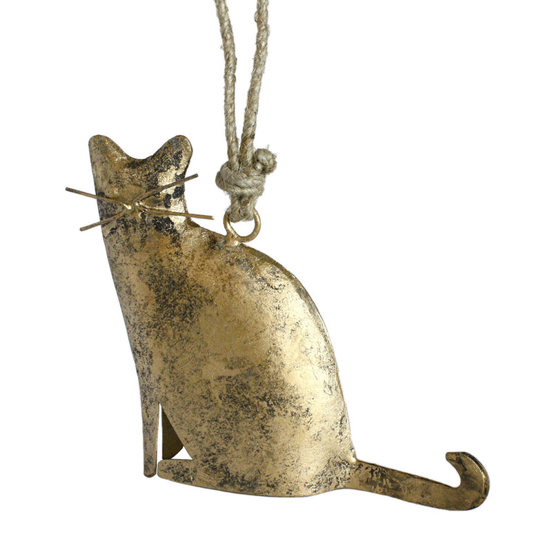 metal sitting cat figurine ornament view 2