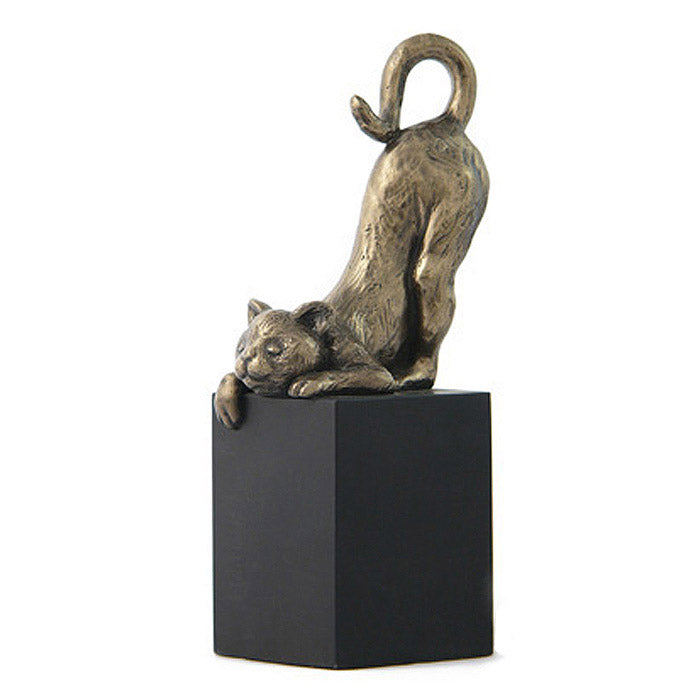 bronze cat on pedestal sculpture