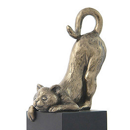 bronze cat on pedestal sculpture close up