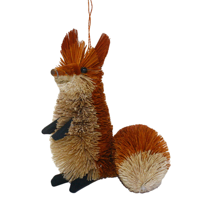 abaca fiber bottle brush fox ornament